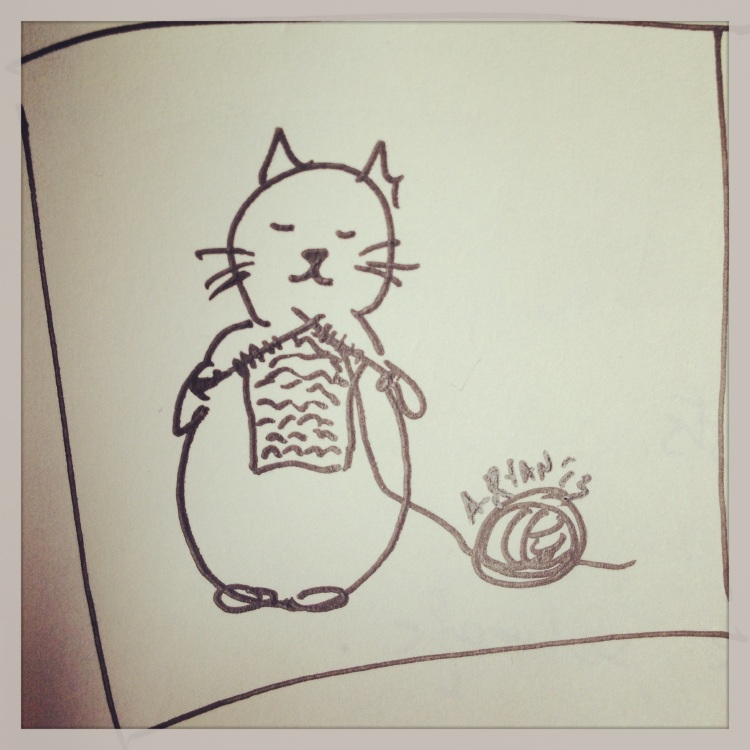 knitting kitty illustration by Áine Ryan, knitahedron.com
