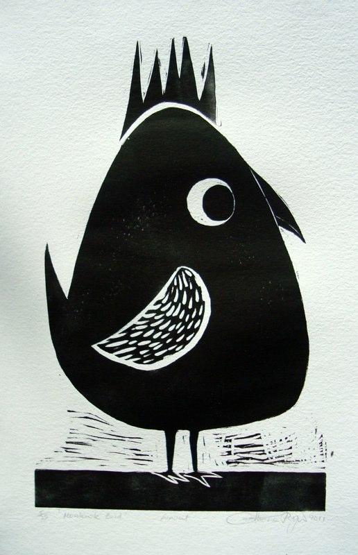 'Mohawk Bird', linoprint © Catherine Ryan