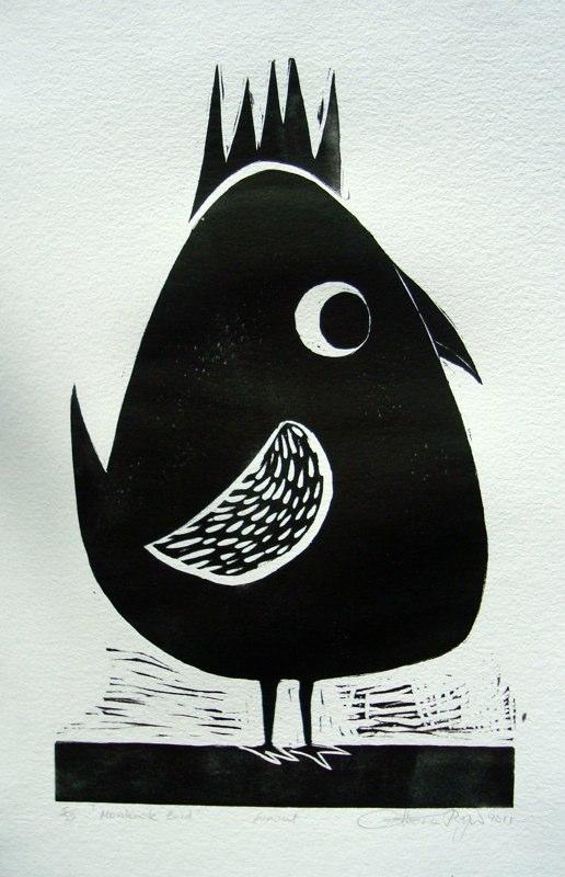 'Mohawk Bird', linoprint © Catherine Ryan