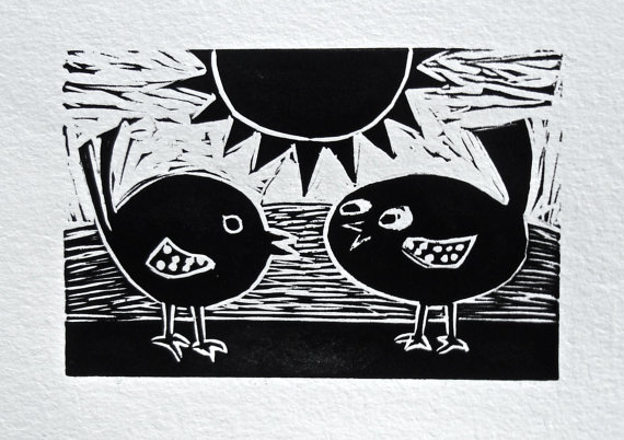'Tweetie Birds', Linoprint © Catherine Ryan
